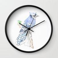 jay fleck Wall Clocks featuring Blue Jay by Annie Mason