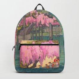 Yoshida Kameidô Japanese Woodblock Print Vintage Asian Art Wisteria Garden Bridge Backpack