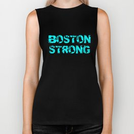 Support BOSTON STRONG Turquoise Grunge Biker Tank
