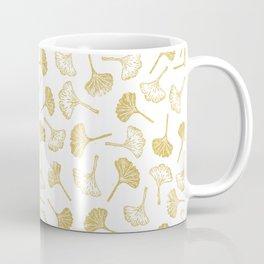 Ginkgo Biloba linocut pattern GLITTER GOLD Coffee Mug