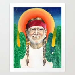 Willie Nelson Sunset Cactus Painting Art Print