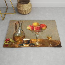 Refreshments, Cognac, a Rose, and Peaches still life by Emma Magnus for kitchen or dinning room Rug