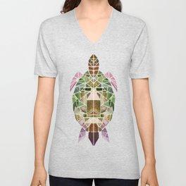 green mosaic turtle Unisex V-Neck