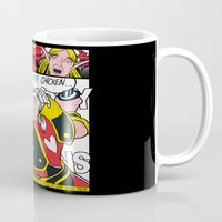 lichtenstein Mugs featuring Leeeeee-ROY Lichtenstein!!! by Oubliette