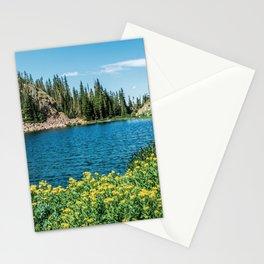 Yellow Flower Lake // Beautiful Daylight Evergreen Mountain Landscape Photograph Stationery Cards