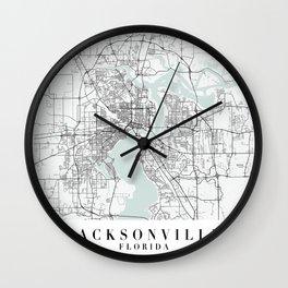 Jacksonville Florida Blue Water Street Map Wall Clock