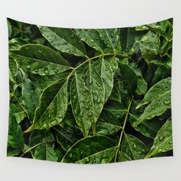 Layers Of Wet Green Leaves Water Droplets On Plant Leaves Wall Tapestry