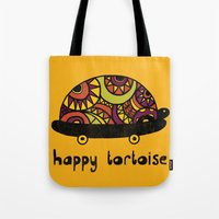 tortoise Tote Bags featuring Happy Tortoise by Farnell