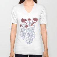 polygon V-neck T-shirts featuring Leaves & Polygon by Felip Ariza Montobbio