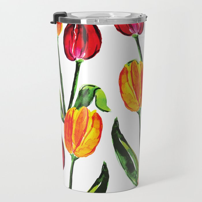 Easter Spring Floral Tulips, Red Yellow Green Watercolor Travel Mug