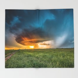 Invasion - Colorful Storm Invading Central Oklahoma Plains Throw Blanket