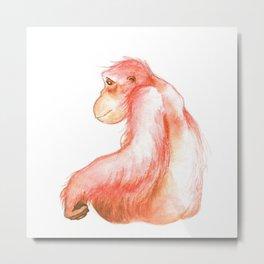 Elka, Orangutan Watercolor Metal Print