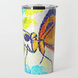 Butterfly Beauty. Pointillism from a watercolour painting. Travel Mug