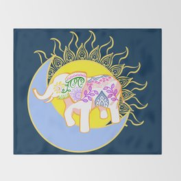 Boho Floral Elephant Sun and Moon Throw Blanket
