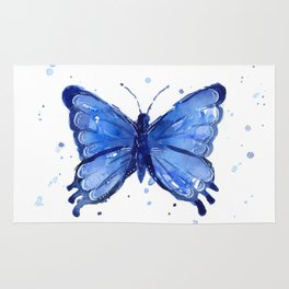 Butterfly Blue Watercolor Animal Painting Rug