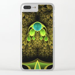 Beautiful Golden Fractal Feathers of the Quetzal Clear iPhone Case