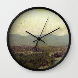 Vintage river landscape and mountain Wall Clock