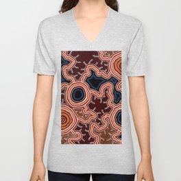 Aboriginal Art Authentic - Pathways Unisex V-Neck