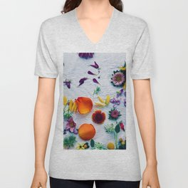 Bouquet of Petals and Flowers Still Life Unisex V-Neck