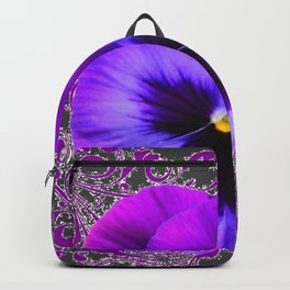 SPRING PURPLE PANSY FLOWER &  DELICATE PATTERN Backpack