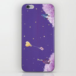 Penguin Sends Love Letter with Heart Balloon to Friend Across Starry Sky iPhone Skin