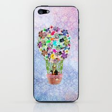 Teal Pink Vintage whimsical cat floral Air balloon iPhone & iPod Skin