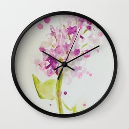 Lilac Sweet Pink Blossom watercolor by CheyAnne Sexton Wall Clock