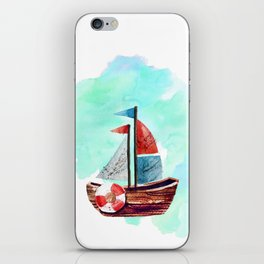 Ship in the Watercolor iPhone Skin