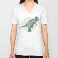 dino V-neck T-shirts featuring Dino by maeveelectro