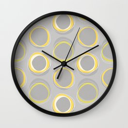 Solar Eclipse MCM Gray-Yellow Wall Clock