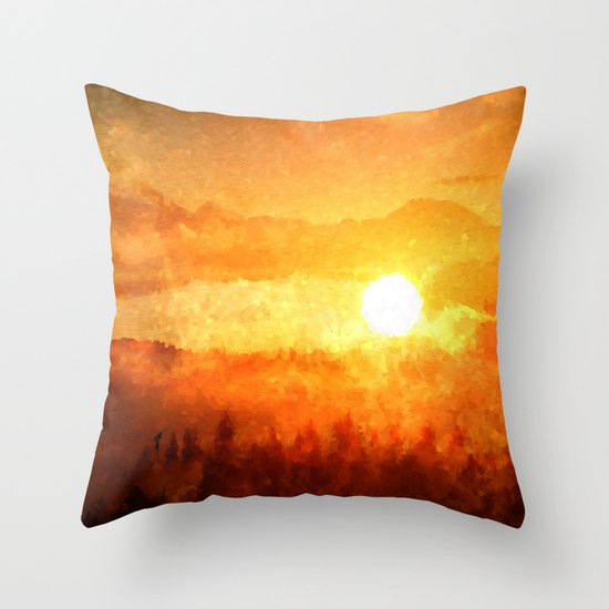Sun Set Into A Lake Throw Pillow By Mr Ginger Society6
