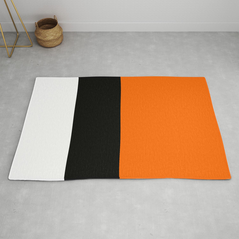 Modern White Black Orange Colorblock