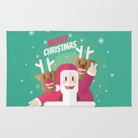 gift card Area & Throw Rugs featuring Santa christmas card - green by Shirley Mejía
