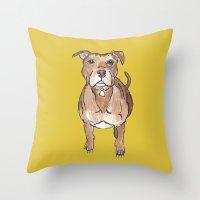pitbull Throw Pillows featuring Pitbull by Tammy Kushnir