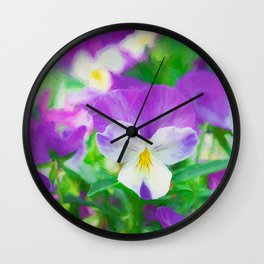purple pansy in late spring Wall Clock