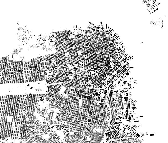 San Francisco Map Schwarzplan Only Buildings Metal Travel Mug