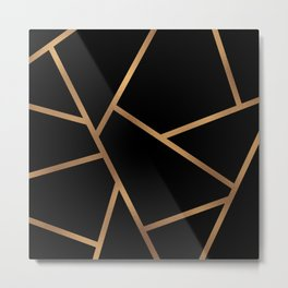 Black and Gold Fragments - Geometric Design Metal Print