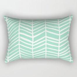 Herringbone – Mint & White Palette Rectangular Pillow