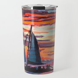 Caribbean Sunset With Sailboat Travel Mug