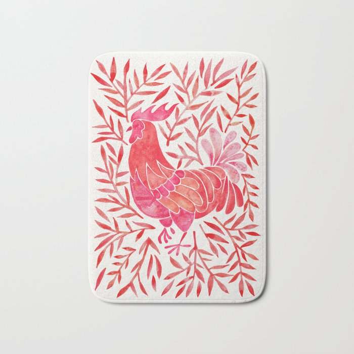 Le Coq – Watercolor Rooster with Red Leaves Bath Mat