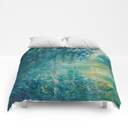 Claude Monet Impressionist Landscape Oil Painting Morning on the Seine Comforters