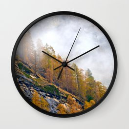 Misty Larches Wall Clock