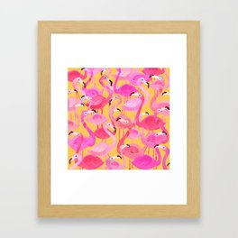 Flamingo pattern orange Framed Art Print