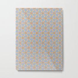 Patterns: Blue Orange Flowers Metal Print