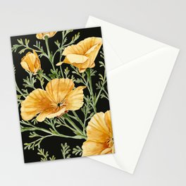 California Poppies on Charcoal Black Stationery Cards
