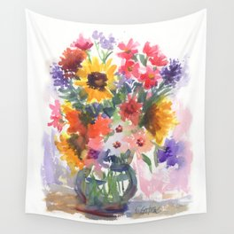 Sunny Summer Sunflowers Wall Tapestry