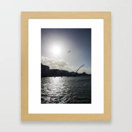 Etihad A340 over the Liffey Dublin and Samuel Beckett Bridge at Flightfest  Framed Art Print