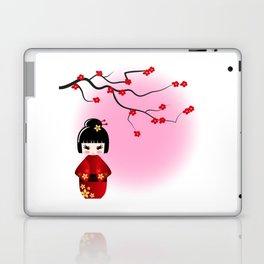 Japanese kokeshi doll at sakura blossoms Laptop & iPad Skin