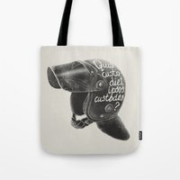 watchmen Tote Bags featuring Quis custodiet ipsos custodes? by Lime