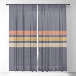 Vintage Retro Stripes Sheer Curtain